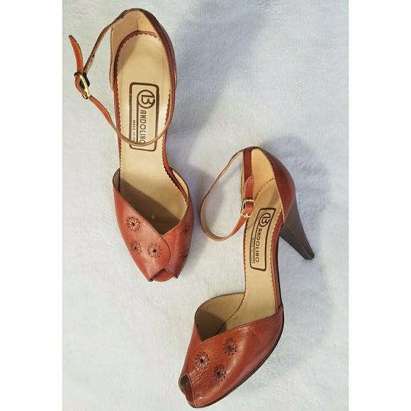 08004b5f2d Bandolino Shoes - VTG 70's BANDOLINO PEEP TOE ANKLE STRAP HEELS